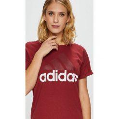 Adidas Performance - Top. Brązowe topy damskie adidas Performance, z nadrukiem, z bawełny, z okrągłym kołnierzem, z krótkim rękawem. Za 99.90 zł.