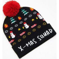Czapka świąteczna ze światełkami LED - Czarny. Czarne czapki i kapelusze męskie Cropp. Za 39.99 zł.