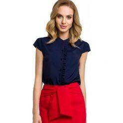 Made Of Emotion Bluzka Damska S Ciemny Niebieski. Niebieskie bluzki damskie Made Of Emotion, z materiału, eleganckie, z krótkim rękawem. W wyprzedaży za 159.00 zł.