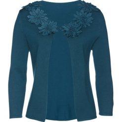 Sweter rozpinany z kwiatową aplikacją bonprix niebieskozielony. Niebieskie kardigany damskie bonprix, z aplikacjami. Za 129.99 zł.
