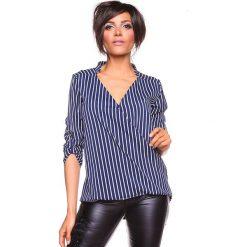 """Koszulka """"Grace"""" w kolorze granatowo-białym. Bluzki damskie La Belle Française, w paski, z kopertowym dekoltem. W wyprzedaży za 130.95 zł."""