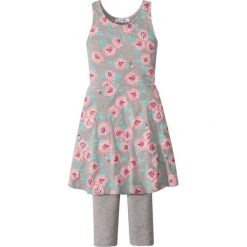 Sukienka + legginsy 3/4 (2 części) bonprix jasnoszary melanż z nadrukiem. Legginsy dla dziewczynek marki bonprix. Za 49.99 zł.