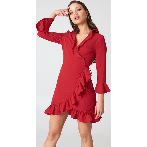 d0b6eee9bfad6e Boohoo Kopertowa sukienka z falbanką - Red - Sukienki damskie Boohoo ...