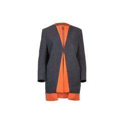 Szaro - pomarańczowy płaszcz z wełny. Brązowe płaszcze damskie Diamond dust, z kaszmiru. Za 1,300.00 zł.