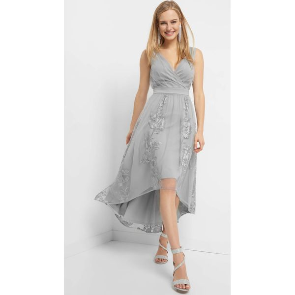 738e4ebfe7 Asymetryczna sukienka z haftem - Szare sukienki damskie marki Orsay ...