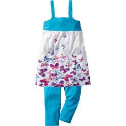 Sukienka + legginsy 3/4 (2 części) bonprix turkusowy w motylki. Legginsy dla dziewczynek bonprix, na ramiączkach. Za 27.99 zł.