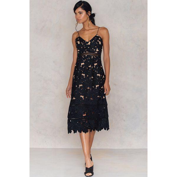 ff7a3319b NA-KD Boho Szydełkowa sukienka midi w kwiaty - Black - Sukienki ...