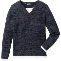 Sweter Regular Fit bonprix niebieski melanż. Swetry przez głowę męskie marki Giacomo Conti. Za 74.99 zł.