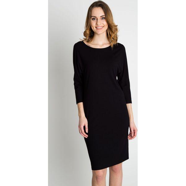 70387541 Czarna biurowa sukienka z rękawem 3/4 BIALCON