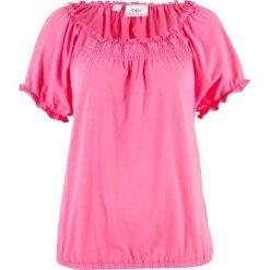 T-shirt bawełniany z gumką, krótki rękaw bonprix różowy flaming. T-shirty damskie marki DOMYOS. Za 27.99 zł.