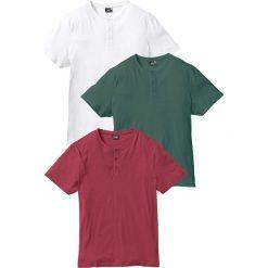 T-shirt (3 szt.) bonprix bordowy + zielony wojskowy + biały. Białe t-shirty męskie bonprix. Za 98.97 zł.