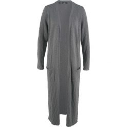 Długi płaszcz dzianinowy, długi rękaw bonprix dymny szary. Szare płaszcze damskie bonprix, z dzianiny. Za 119.99 zł.