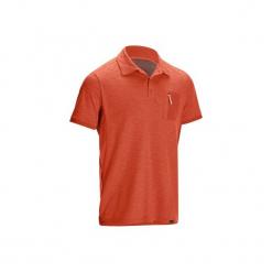 Koszulka polo turystyczna TRAVEL 100 męska. Brązowe koszulki polo męskie FORCLAZ, z bawełny. Za 59.99 zł.