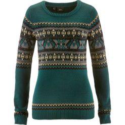 Sweter z okrągłym dekoltem bonprix niebieskozielony wzorzysty. Swetry damskie marki bonprix. Za 99.99 zł.