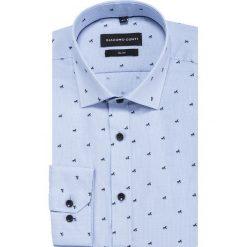 Koszula SIMONE slim KDWS000399. Niebieskie koszule męskie Giacomo Conti, z tkaniny, z włoskim kołnierzykiem, z długim rękawem. Za 169.00 zł.