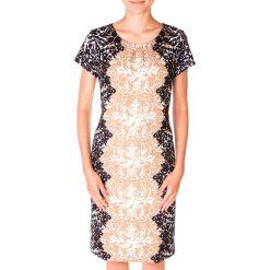 Elegancka sukienka we wzory QUIOSQUE. Czarne sukienki damskie QUIOSQUE, z tkaniny, eleganckie, z krótkim rękawem. W wyprzedaży za 50.00 zł.