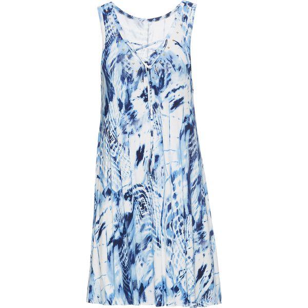 d14482e8 Sukienka batikowa z ozdobnym sznurowaniem bonprix niebiesko-biel wełny z  nadrukiem