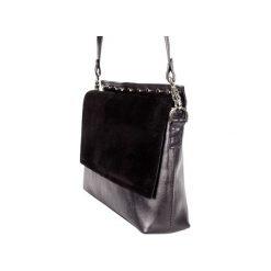 daa6da1dcd745 Elegancka czarna torebka szyta ręcznie z naturalnej skóry, wykończona  ćwiekami. Torebki do ręki damskie