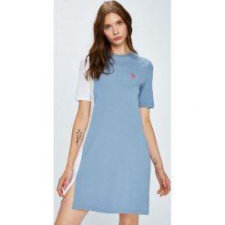 Adidas Originals - Sukienka. Szare sukienki damskie adidas Originals, z bawełny, casualowe, z okrągłym kołnierzem, z krótkim rękawem. Za 169.90 zł.