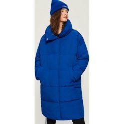 Płaszcz puffa z kołnierzem - Niebieski. Płaszcze damskie marki FOUGANZA. W wyprzedaży za 79.99 zł.