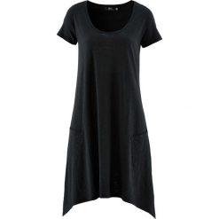 Sukienka  bawełniana z przędzy mieszankowej, krótki rękaw bonprix czarny. Czarne sukienki damskie bonprix, z bawełny, z krótkim rękawem. Za 59.99 zł.