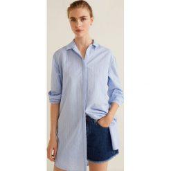 Mango - Koszula Lines. Szare koszule damskie Mango, w paski, z bawełny, klasyczne, z klasycznym kołnierzykiem, z długim rękawem. W wyprzedaży za 89.90 zł.