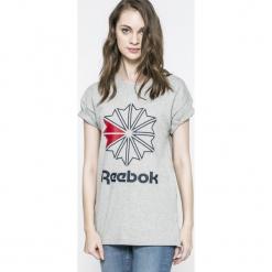 Reebok Classic - Top. Szare topy damskie Reebok Classic, z nadrukiem, z bawełny, z okrągłym kołnierzem, z krótkim rękawem. W wyprzedaży za 79.90 zł.