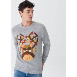 Świecący sweter z reniferem - Szary. Szare swetry przez głowę męskie House. Za 99.99 zł.