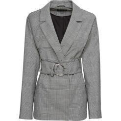 Żakiet z paskiem bonprix czarno-biały w kratę. Białe żakiety damskie bonprix, eleganckie. Za 169.99 zł.