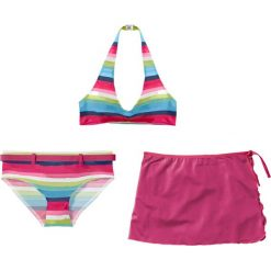 Bikini+spódniczka dziewczęce (3 cz.) bonprix ciemnoróżowy w paski. Bielizna dla dziewczynek marki bonprix. Za 59.99 zł.
