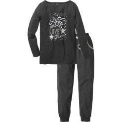 Piżama bonprix antracytowy melanż - srebrny z nadrukiem. Piżamy damskie marki MAKE ME BIO. Za 89.99 zł.