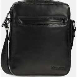 Czarna torba przez ramię. Czarne torby na ramię męskie Kazar, w paski, ze skóry. Za 399.00 zł.