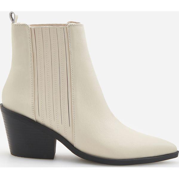 ad6b5fa1 Skórzane białe botki - Biały - Botki damskie Reserved. W wyprzedaży ...
