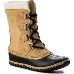 Śniegowce SOREL - Caribou Slim NL2649 Curry/Black 373. Brązowe kozaki damskie Sorel, z gumy. W wyprzedaży za 339.00 zł.