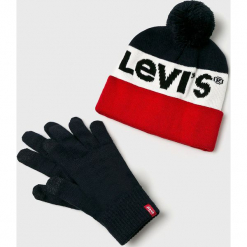 Levi's - Czapka i rękawiczki. Brązowe rękawiczki męskie Levi's, na zimę, z dzianiny. Za 169.90 zł.