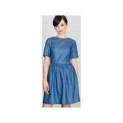 Sukienka K164 Niebieski. Niebieskie sukienki damskie Lenitif, z bawełny, z kontrastowym kołnierzykiem, z krótkim rękawem. Za 129.00 zł.