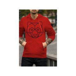 Geo miś czerwona bluza męska bluza z kapturem. Czerwone bluzy męskie One mug a day, z bawełny. Za 179.00 zł.