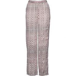 Spodnie szyfonowe bonprix szaro-matowy jasnoróżowy. Spodnie materiałowe damskie marki DOMYOS. Za 44.99 zł.