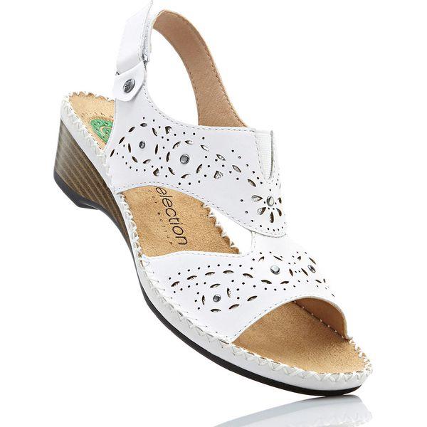 cae45a94 Wygodne sandały skórzane bonprix biały - Sandały damskie marki ...