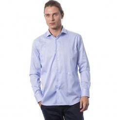 Koszula w kolorze błękitnym. Niebieskie koszule męskie Roberto Cavalli, Trussardi, w paski, z klasycznym kołnierzykiem. W wyprzedaży za 329.95 zł.