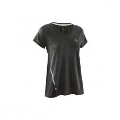 Koszulka krótki rękaw RUN LIGHT damska. Czarne t-shirty damskie KALENJI, z elastanu. W wyprzedaży za 29.99 zł.