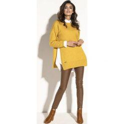 Sweter z rozcięciem fb587. Żółte swetry damskie Fobya, z golfem. Za 119.00 zł.
