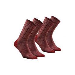 Skarpety turystyczne SH100 warm mid. Czerwone skarpety męskie QUECHUA, z elastanu. Za 29.99 zł.