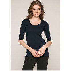 Answear - Bluzka. Szare bluzki damskie ANSWEAR, z bawełny, casualowe, z okrągłym kołnierzem. W wyprzedaży za 49.90 zł.