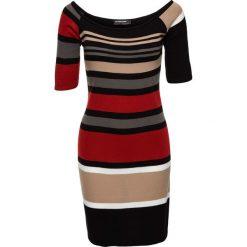 Sukienka dzianinowa w paski bonprix czerwono-beżowo-czarny w paski. Sukienki damskie marki MAKE ME BIO. Za 89.99 zł.