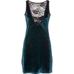 Koszulka nocna bonprix szmaragdowo-czarny. Zielone koszule nocne damskie bonprix, w koronkowe wzory, z koronki. Za 69.99 zł.