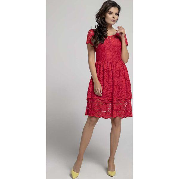 482ee2ff Czerwona Elegancka Sukienka Koronkowa z Falbanką
