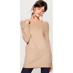 Sweter z domieszką wełny - Beżowy. Brązowe swetry damskie Mohito, z wełny. Za 129.99 zł.