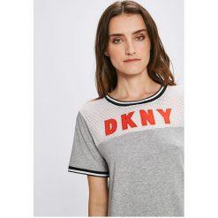 Dkny - Top piżamowy. Szare piżamy damskie DKNY, z bawełny, z krótkim rękawem. W wyprzedaży za 159.90 zł.
