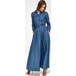 Jeansowa Koszulowa Sukienka Maxi z Długim Rękawem. Niebieskie sukienki damskie Molly.pl, na lato, z jeansu, z koszulowym kołnierzykiem, z długim rękawem. Za 189.90 zł.
